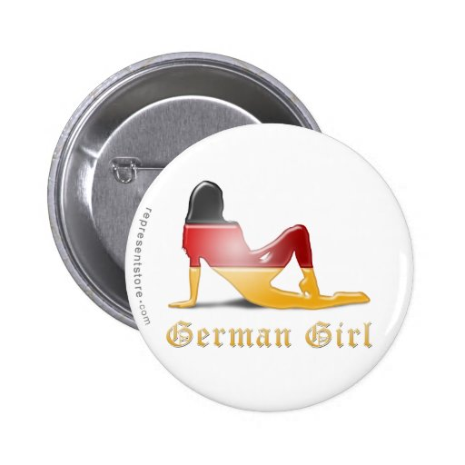 German Girl Silhouette Flag Buttons