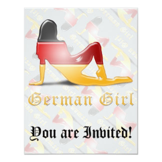 German Girl Silhouette Flag Card