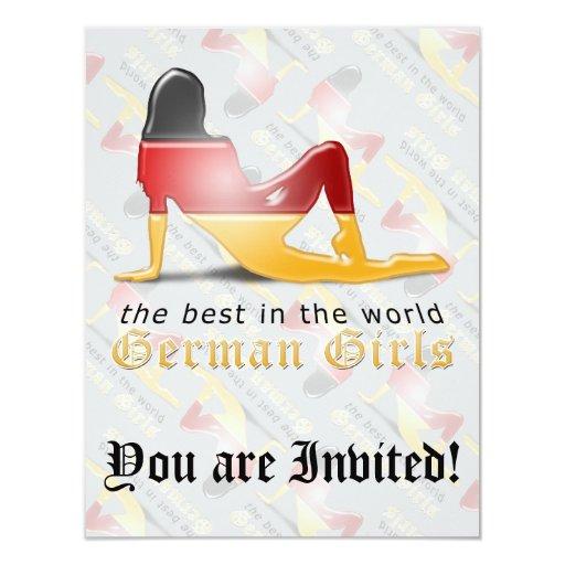 German Girl Silhouette Flag Custom Invites