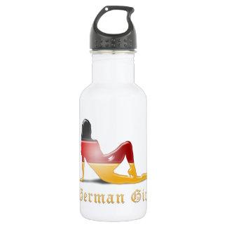 German Girl Silhouette Flag 18oz Water Bottle