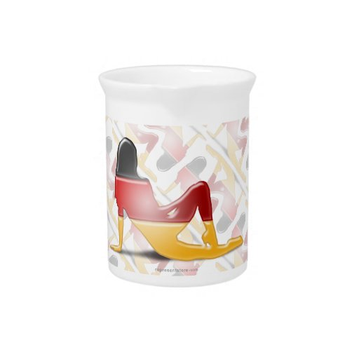 German Girl Silhouette Flag Beverage Pitchers