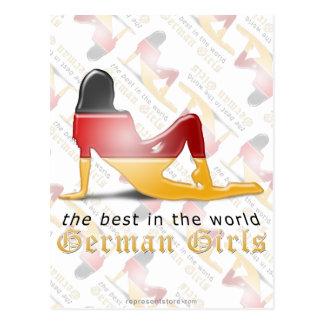 German Girl Silhouette Flag Postcard