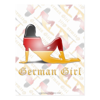 German Girl Silhouette Flag Postcard