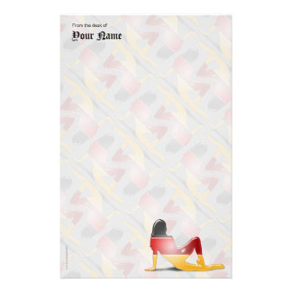 German Girl Silhouette Flag Personalized Stationery