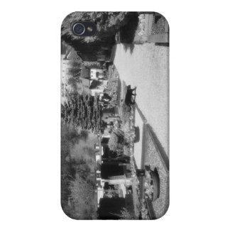 German Graveyard with black cat walking through. iPhone 4 Cases