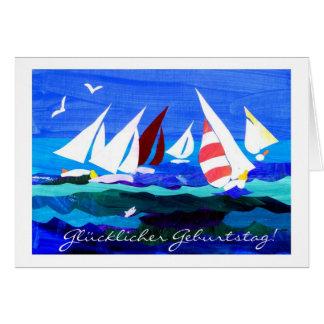 German Greeting Birthday Card - Sailing