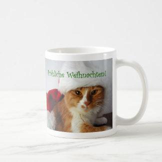 German Greeting Cat in Santa Hat Mug