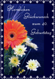 German Happy 40th 50th Birthday Card