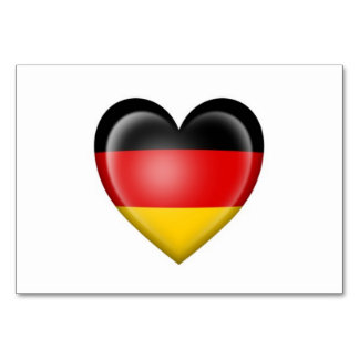 German Heart Flag on White Table Card