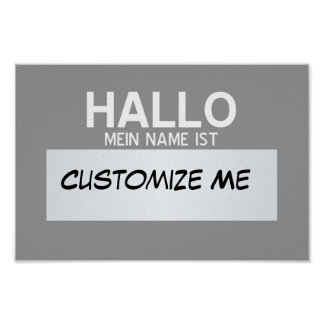 German Hello My Name Is ... Customizable Poster
