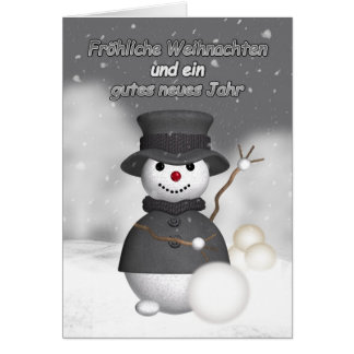 German holiday card with modern stylish snoman