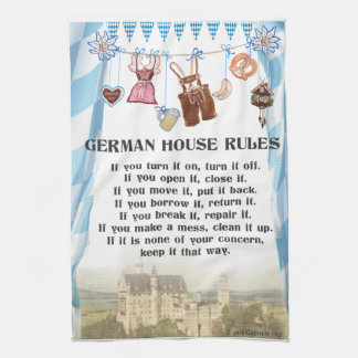 German House Rules Kitchen Cloth Hand Towels