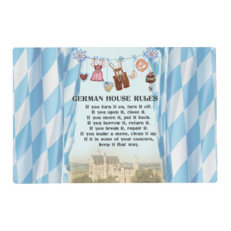 German House Rules Place Mats