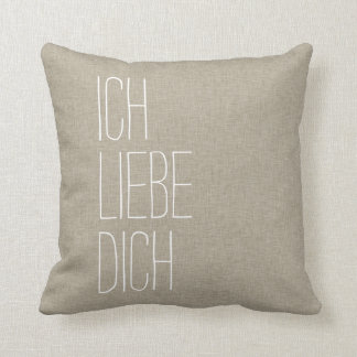 German I Love You Ich Liebe Dich Tan Throw Pillow
