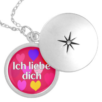 German - I love you Round Locket Necklace