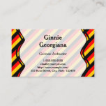 This business card design could be used by a professional such as a German instructor, German language translator, German language expert, or German language teacher. The name, profession and contact details can be personalized. It also features black, red and yellow stripes, inspired by the colors of the German national flag.