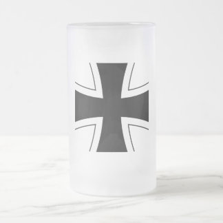 German Iron Cross Frosted Glass Beer Mug
