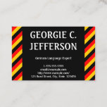 This business card design could be used by a professional such as a German language expert, German language instructor, or German language tutor. The name, profession and contact details can be personalized. It also features black, red and yellow stripes, inspired by the colors of the German national flag.
