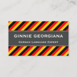 This business card design could be used by a professional such as a German language expert, German language tutor, German instructor, or German translator. The name, profession and contact details can be personalized. It also features black, red and yellow stripes, inspired by the colors of the German national flag.