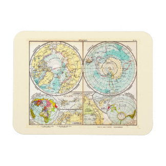 German-Language Polar Map Rectangle Magnets