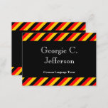 This business card design could be used by a professional such as a German language tutor or a German language instructor. The name, profession and contact details can be personalized. It also features black, red and yellow stripes, inspired by the colors of the German national flag.