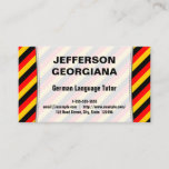 This business card design could be used by a professional such as a German language tutor, German language instructor, German language translator, or German teacher. The name, profession and contact details can be personalized. It also features black, red and yellow stripes, inspired by the colors of the German national flag.