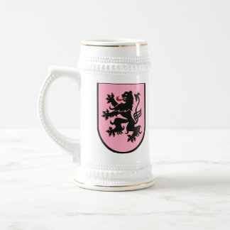 German Lion (black on pink) stein