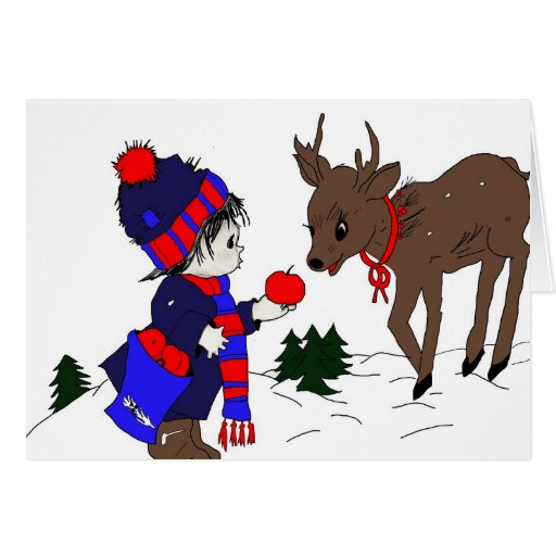 German Little Boy and Reindeer Christmas Greeting Card