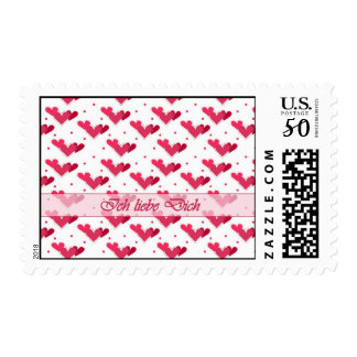 German Love Red Hearts Dots White Stamp