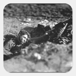 German machine-gun nest and dead gunner_War Image Square Sticker