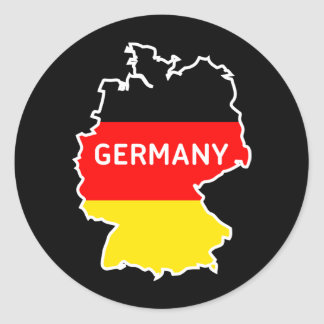 German Map and Flag Classic Round Sticker