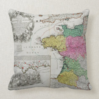 German Map showing English naval attacks on French Throw Pillow