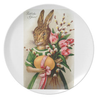 German Mother Easter Bunny Plate
