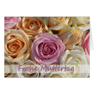 german mother's day pastel roses greeting card