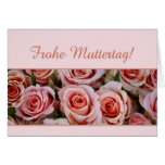 german mother's day pink roses greeting cards