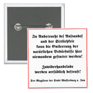 German No Peeing in Public Sign 2 Inch Square Button