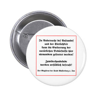 German No Peeing in Public Sign Pins