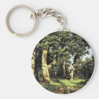 German Oaks Evening By Schischkin Iwan Iwanowitsch Key Chain