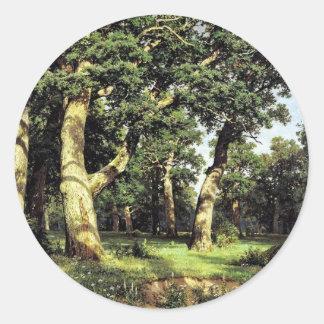 German Oaks Evening By Schischkin Iwan Iwanowitsch Round Stickers