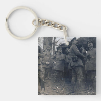German officers watching a dogfight - WW1, Vosges Keychain