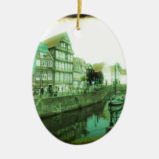 german old town Double-Sided oval ceramic christmas ornament