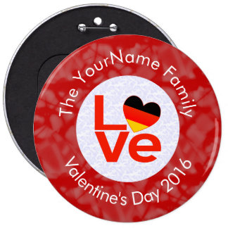 German or Deutsch LOVE White on Red Pinback Button