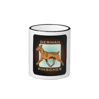 German Pinscher Badge, square Ringer Coffee Mug