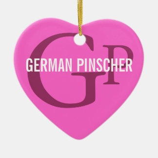 German Pinscher Breed Monogram Double-Sided Heart Ceramic Christmas Ornament