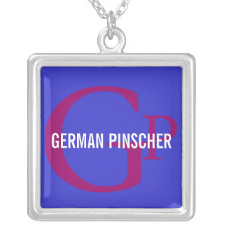 German Pinscher Breed Monogram Square Pendant Necklace