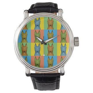 German Pinscher Dog Cartoon Pop-Art Wristwatch