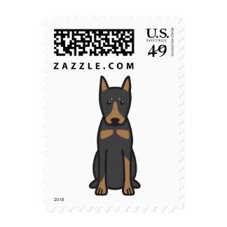 German Pinscher Dog Cartoon Stamp