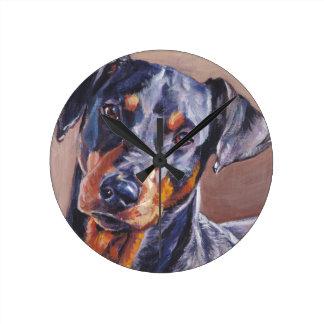 german pinscher fine art dog painting round clock