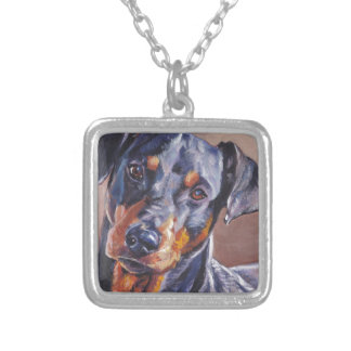 german pinscher fine art dog painting silver plated necklace