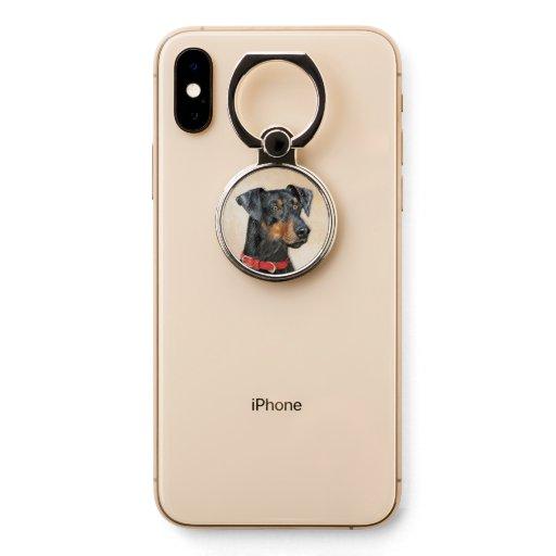 German Pinscher Painting - Cute Original Dog Art Phone Ring Stand